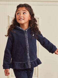 Sweat-shirt bleu marine à capuche enfant fille BROFALETTE / 21H2PFF1JGH070