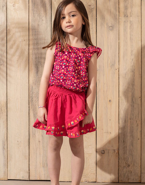 Jupe rose fuchsia brodée à volants enfant fille TIUPETTE / 20E2PFQ1JUPF510