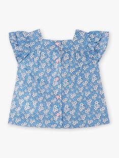 Blouse bleue imprimé fleuri bébé fille ZAPALOMA / 21E1BFT1CHEC208