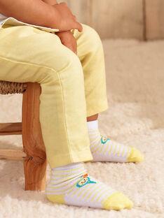 Chaussettes rayées blanches et jaunes bébé garçon  ZAMAX / 21E4BGO1SOQB104