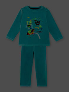 Pyjama turquoise en velours  ZEBARAGE / 21E5PG13PYJ204