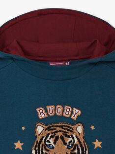 Sweat-shirt à capuche vert émeraude brodé tigre enfant garçon   BEMAGE / 21H3PG91SWE608