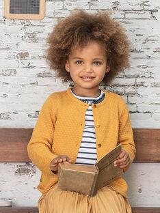 Gilet moutarde en maille enfant fille BRODIGETTE1 / 21H2PFB3CARB106