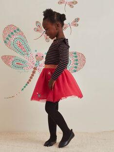 Jupe rose en tulle motifs étoiles enfant fille BRIDOUETTE / 21H2PFM1JUP308