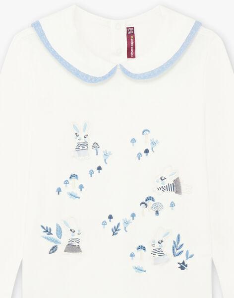 T-shirt écru col Claudine à motifs lapins enfant fille BYCOLETTE / 21H2PFL1TML001