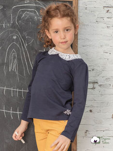 T-shirt manches longues bleu marine col claudine enfant fille BROTOZETTE3 / 21H2PFB3TMLC214