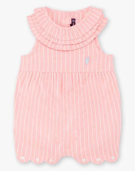 Combinaison courte rose à rayures bébé fille ZAPRUNE / 21E1BFT1CBLD305