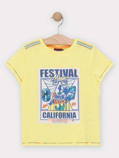 Tee-shirt manches courtes jaune garçon  TEJIGAGE / 20E3PGG2TMCB113
