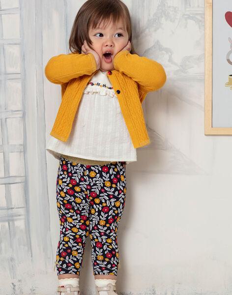 Legging bleu marine imprimé fleuri bébé fille BAELINA / 21H4BF51CAL070