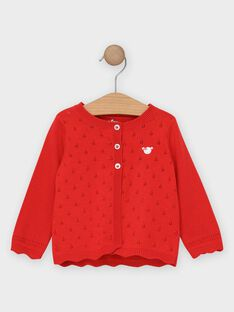 Cardigan ajouré rouge bébé fille  TAMARION / 20E1BFH2CAR050