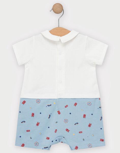 Grenouillère blanche et bleu imprimés Londres bébé garçon TEVAL / 20E5BGE5GRE001