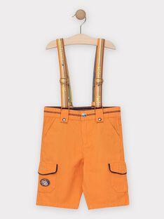 Bermuda orange à bretelles amovibles garçon  TECOLAGE / 20E3PGG3BER400
