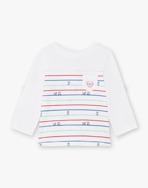 T-shirt manches longues écru à rayures bébé garçon BABILLY / 21H1BG11TML001