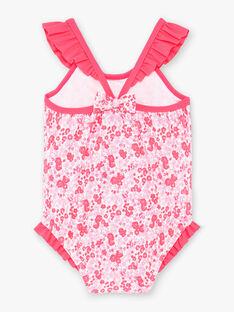 Maillot de bain 1 pièce rose fluo imprimé fleuri bébé fille ZISUCRE / 21E4BFR2MAI001