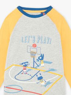 Ensemble pyjama gris chiné imprimé fantaisie basket enfant garçon BIBASKAGE / 21H5PG73PYJ943