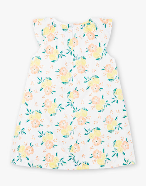 Robe évasée blanche imprimés citrons et fleurs enfant fille ZICITETTE / 21E2PFO1ROB000