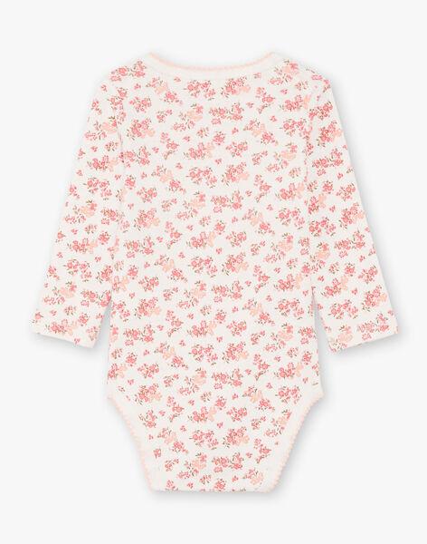 Lot de 3 body manches longues blanc et rose à motifs bébé flle BEFILLE / 21H5BF81BDL001
