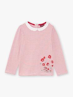 T-shirt col claudine à rayures rouge enfant fille BACHETTE / 21H2PF11TMLF505