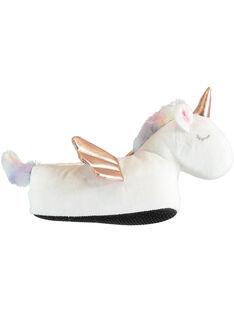Pantoufles 3D blanches licorne enfant fille VELICETTE / 21F10PF21PTD000