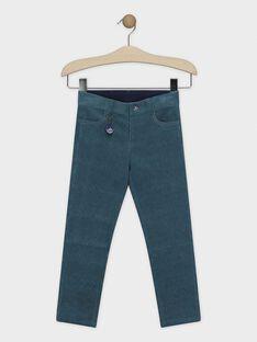 Pantalon bleu en velours avec porte-clés garçon SIMURAGE / 19H3PGN2PAN210