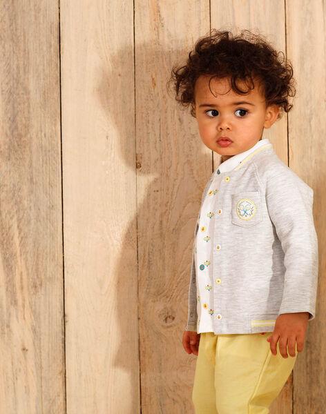 Gilet manches longues gris chiné à détails brodés bébé garçon ZAMAURICE / 21E1BGO1GILJ920