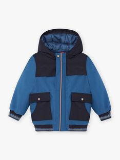 Parka à capuche bleu acier enfant garçon BAMATAGE / 21H3PGC1PARC202
