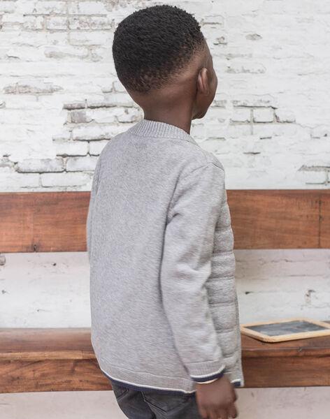 Gilet manches longues en maille gris enfant garçon BUXATAGE2 / 21H3PGB2GIL941