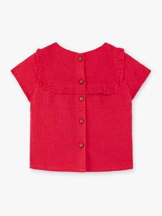Blouse rmanches courtes rouge brodée bébé fille TASOPHIE / 20E1BFQ1CHEF510