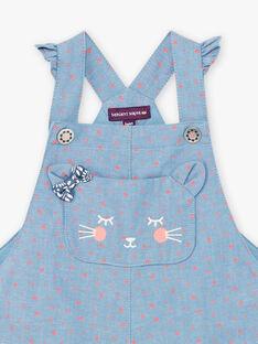 Salopette en jean à pois poche chat bébé fille BAKAREN / 21H1BFL1SALP269