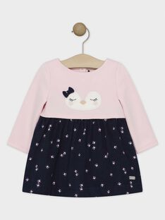 Robe bi-matière bleu nuit et rose bébé fille  SASTACY / 19H1BFN2ROBD326
