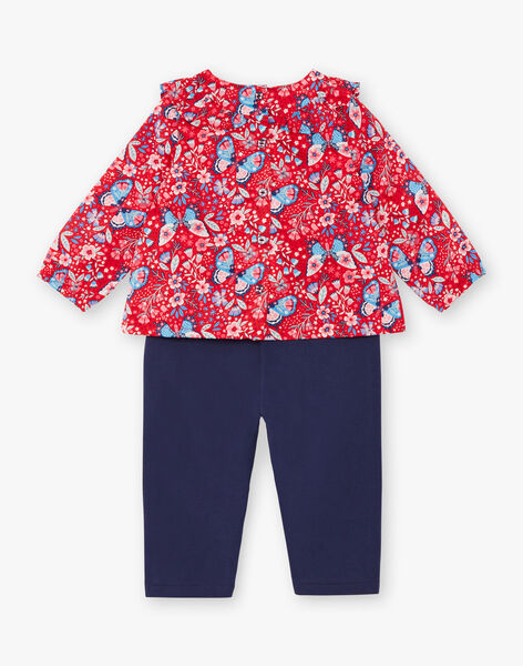Ensemble blouse imprimée et pantalon bleu marine ZAFLORE / 21E1BFB1ENS050