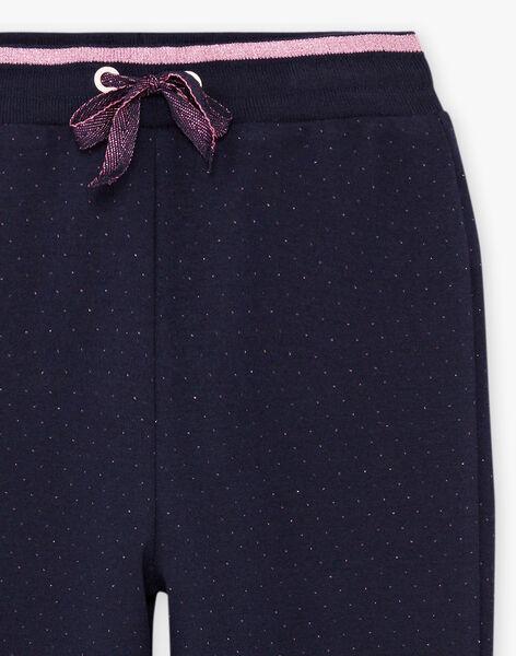 Pantalon de jogging bleu marine à pois enfant fille BROUETTE / 21H2PF32JGB070