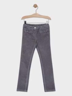 Pantalon velours gris fille SAVELETTE 3 / 19H2PFH3PANJ908