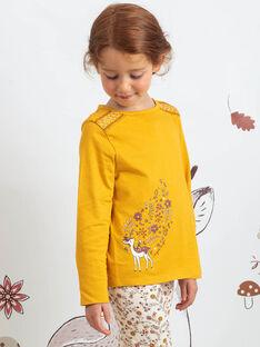 T-shirt moutarde à motifs faon et fleurs enfant fille BUBIZETTE / 21H2PFJ2TMLB106