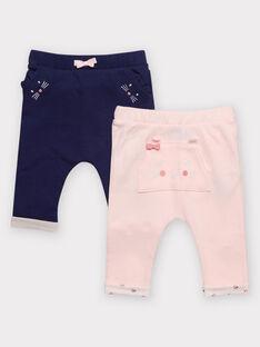 Lot de deux pantalons en maille bébé fille  TIROSALY / 20E1BF91LDP301