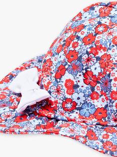 Chapeau bleu et rouge à imprimé fleuri bébé fille ZISHAKIRA / 21E4BFR1CHA020
