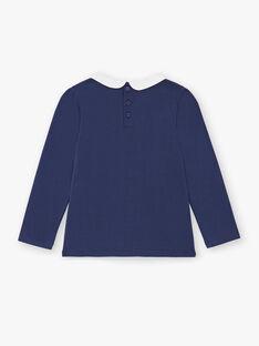 T-shirt bleu marine manches longues et col claudine enfant fille ZLIMETTE2 / 21E2PFK6TMLC214