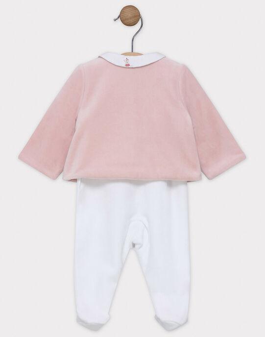 Ensemble cardigan rose et dors bien imprimé en velours bébé fille SYASENA / 19H0NF11ENSD300