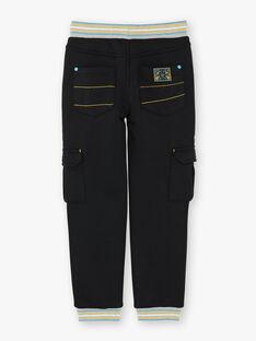 Pantalon cargo noir avec taille élastiquée ZAXOAGE / 21E3PG91PAN090
