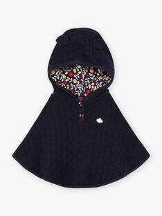 Poncho maille à capuche bleu marine bébé fille BAEMILIE / 21H1BF51PON070