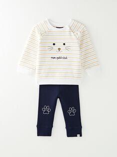 Ensemble bébé garçon : sweat rayé et pantalon en côte  VAFARIS / 20H1BG61ENS001