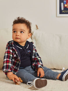Surchemise à capuche et à carreaux bleue bébé garçon BAPRINCE / 21H1BGM1SCHC228