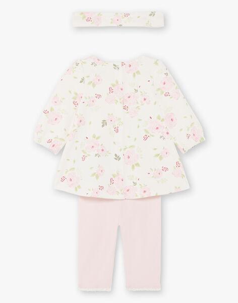 Ensemble robe, legging et bandeau imprimé fleuri naissance fille BOUTAINA / 21H0CF43ENS001