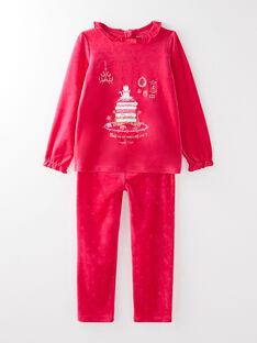 Pyjama en velours dévoré rose petite fille VEJOETTE / 20H5PF26PYJD307