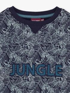 Sweat bleu marine imprimé jungle enfant garçon BUWAGE1 / 21H3PGB2SWE070