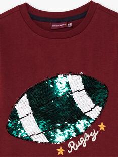 T-shirt rouge bordeaux à sequins réversibles enfant garçon BERNAGE / 21H3PG91TMLF511