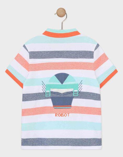 Polo à rayures bleu et orange garçon  TINANAGE / 20E3PGP1POL001