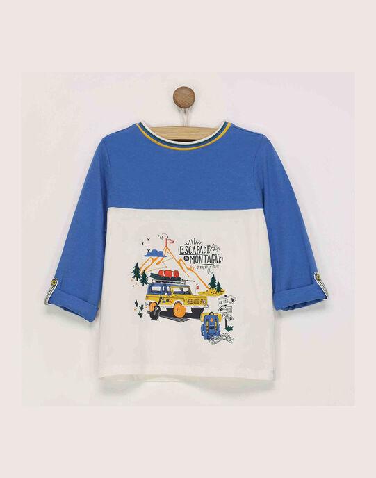 Tee shirt manches longues blanc et bleu RATOAGE / 19E3PG61TML001