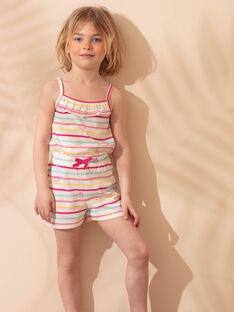 Salopette courte de plage écrue à rayures colorées enfant fille ZAOPLETTE / 21E2PFQ2SAC001