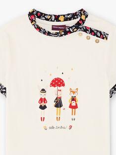 T-shirt manches courtes écru à imprimé fantaisie enfant fille BICHETTEEX / 21H2PF51TMC001